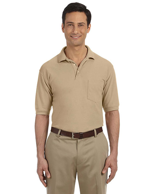 Harriton M265P Mens 5 oz. Easy Blend Polo with Pocket STONE at GotApparel