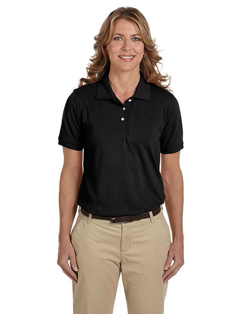 Harriton M265W Women 5.6 oz. Easy Blend Polo Black at GotApparel