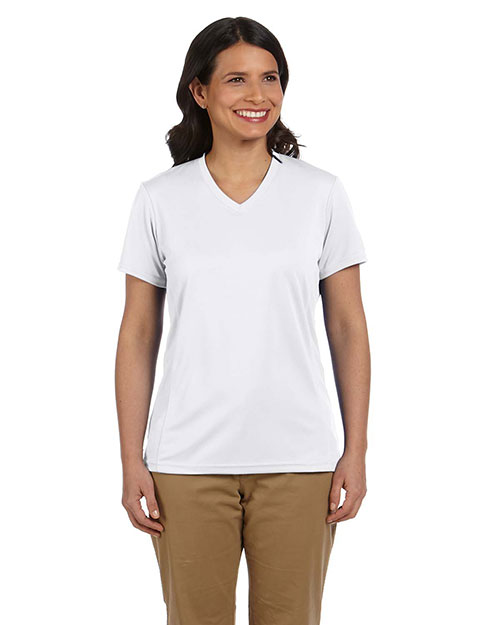 Harriton M320W  Ladies Athletic Sport T-Shirt WHITE at GotApparel