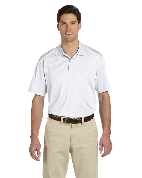 Harriton M354 Men MicroPique Polo White at GotApparel