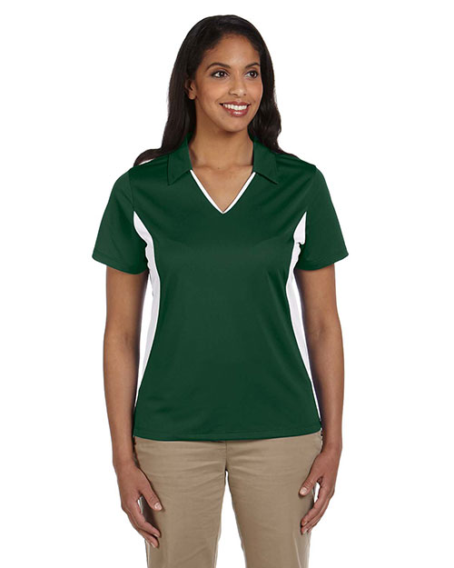 Harriton M355W Women's Side Blocked Micro-Pique Polo DARK GREEN/WHITE at GotApparel