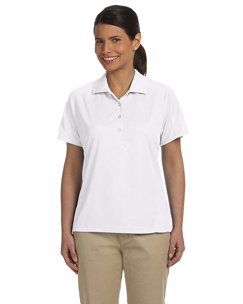 Harriton M374W  Women's Polytech Mesh Insert Polo WHITE at GotApparel