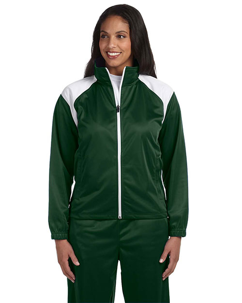 Harriton M390W Women Tricot Track Jacket Dark Green/White at GotApparel