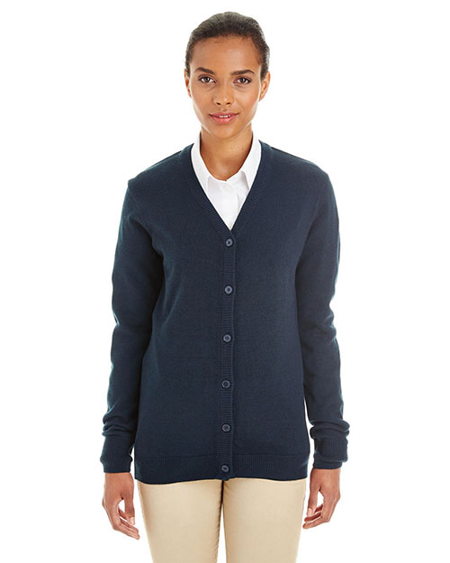 Harriton M425W  Ladies' Pilbloc™ V-Neck Button Cardigan Sweater DARK NAVY at GotApparel