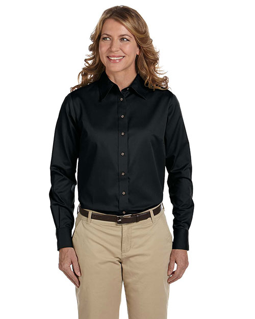 Harriton M500W Women Easy Blend LongSleeve Twill Shirt with StainRelease Black at GotApparel