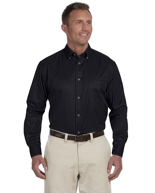 Harriton M500 Men Easy Blend LongSleeve Twill Shirt with StainRelease Black at GotApparel