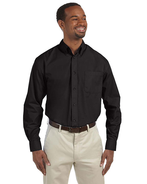 Harriton M510T Men Tall 3.1 oz. Essential LongSleeve Poplin Black at GotApparel
