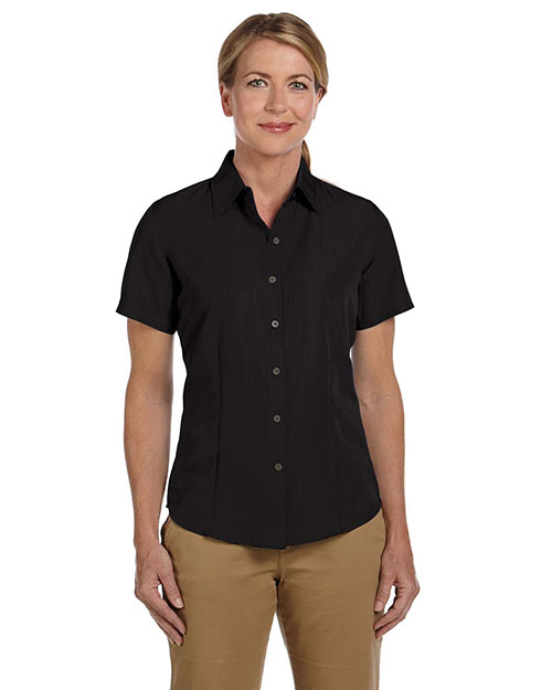 Harriton M560W Women Barbados Textured Camp Shirt Black at GotApparel