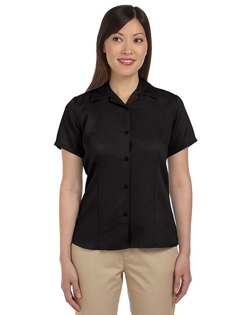 Harriton M570W Women Bahama Cord Camp Shirt Black at GotApparel