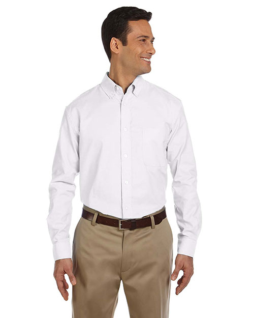 Harriton M600 Men LongSleeve Oxford with StainRelease White at GotApparel