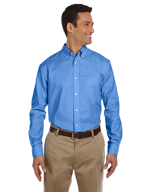 Harriton M600  Long Sleeve Oxford w/Stain Release FRENCH BLUE at GotApparel