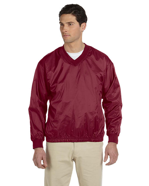 Harriton M720 Men Athletic V-Neck Pullover Jacket Maroon at GotApparel