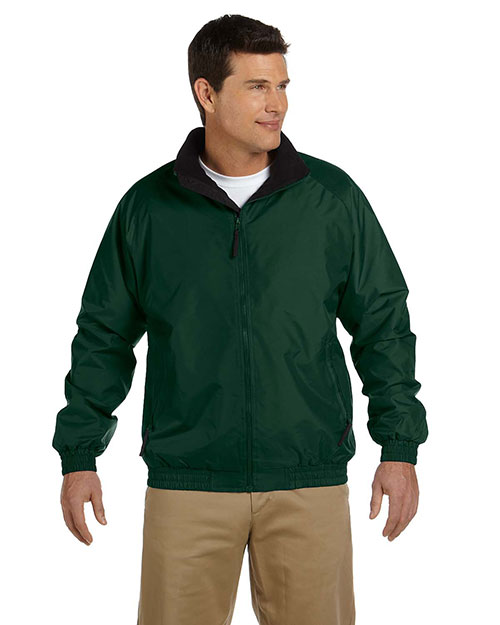 Harriton M740 Men FleeceLined Nylon Jacket Hunter/Black at GotApparel