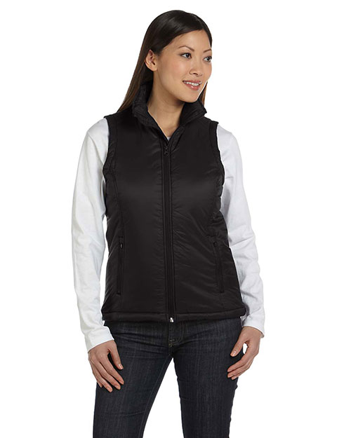 Harriton M795W Women Essential Polyfill Vest Black at GotApparel
