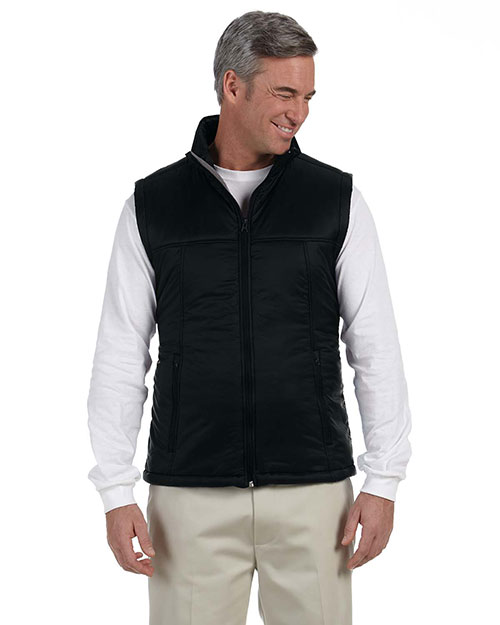 Harriton M795 Men Essential Polyfill Vest Black at GotApparel