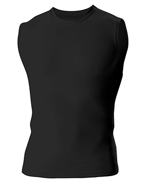 A4 Drop Ship N2306 Men's Compression Muscle Shirt Black at GotApparel