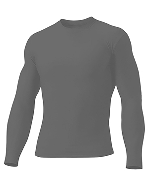 A4 N3133 Men Long Sleeve Compression Crew Black at GotApparel