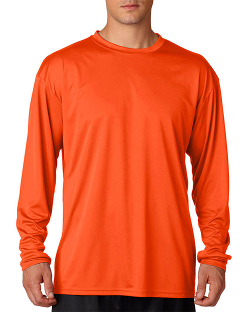 A4 N3165 Men Cooling Performance Long Sleeve Tee Athletic Orange at GotApparel