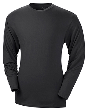 A4 N3221 Men's Fusion Long Sleeve Tee Black at GotApparel