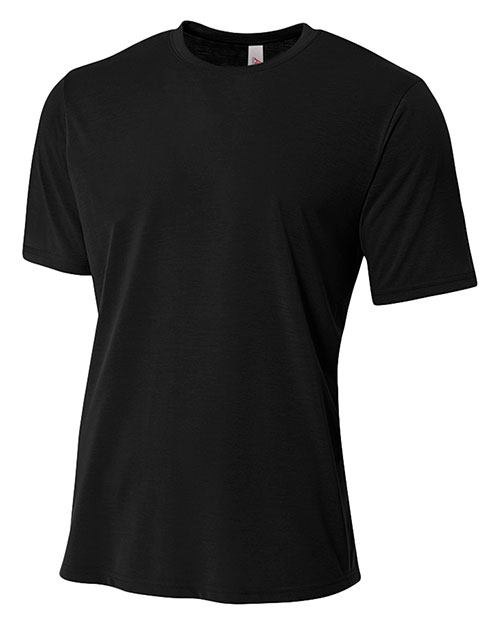 A4 N3264 Men Poly short sleeve Tee Black at GotApparel