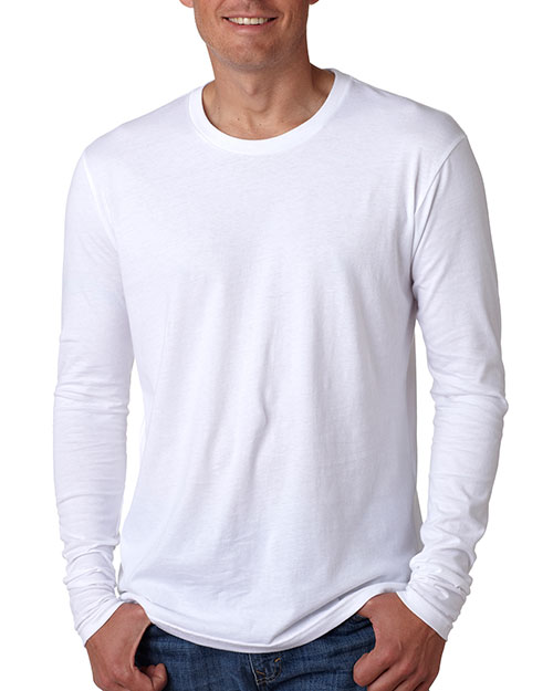 Next Level N3601  Mens Long Sleeve Tee White at GotApparel