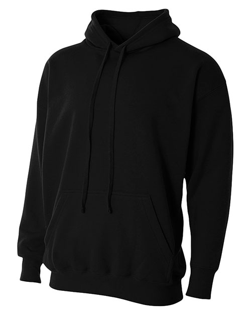 A4 N4231 Combed RingSpun Blended Cvc Fleece Hooded Sweatshirt Black at GotApparel