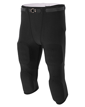 A4 Drop Ship N6181 Men's Flyless Football Pants Black at GotApparel