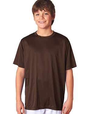 A4 Drop Ship NB3142 Boy's Short-Sleeve Cooling Performance Crew Shirt Brown at GotApparel