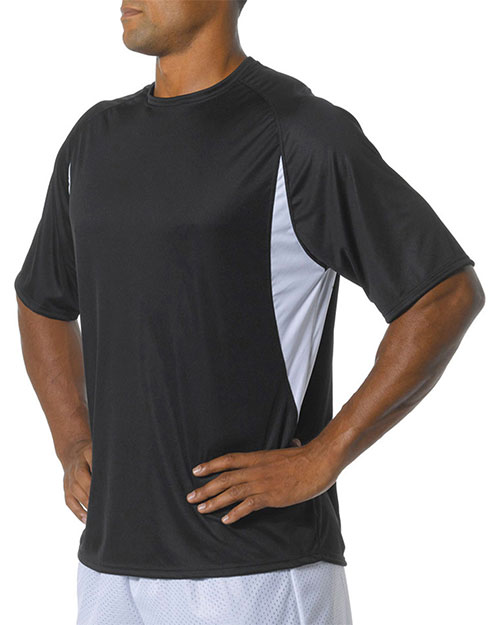 A4 NB3181 Boys Cooling Performance Color Block Short Sleeve Crew Black/ White at GotApparel