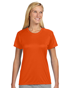 A4 NW3201 Women's Shorts Sleeve Cooling Performance Crew Shirt Athletic Orange at GotApparel