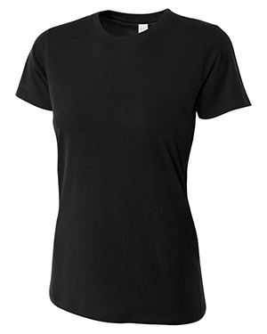 A4 Drop Ship NW3249 Women's Combed Ring-spun Short-Sleeve Tee Black at GotApparel