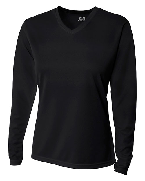 A4 NW3255 Women Textured Tech Long Sleeve Tee Black at GotApparel