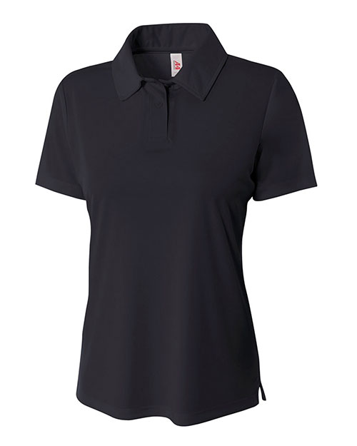 A4 NW3261 Women Circular Knit Performance Polo Black at GotApparel