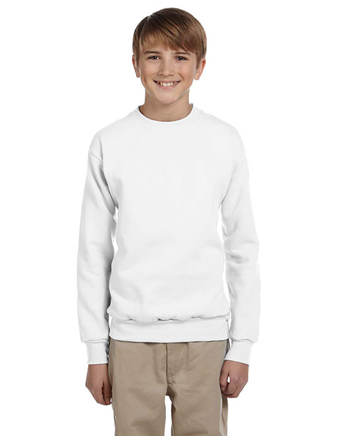 Hanes P360 Boys 7.8 oz. ComfortBlend EcoSmart 50/50 Fleece Crew White at GotApparel
