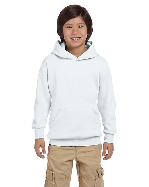Hanes P473 Boys 7.8 oz. ComfortBlend EcoSmart 50/50 Pullover Hood White at GotApparel