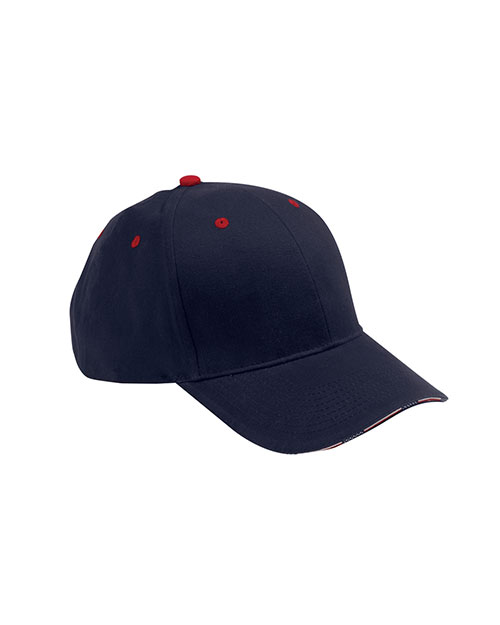 Adams PA102 6-Panel Mid-Profile Structured Stars & Stripes Sandwich Visor with USA Flag Label Navy/Red at GotApparel