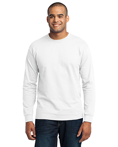 Port & Company PC55LS Men Long Sleeve 50/50 Cotton/Poly TShirt White at GotApparel