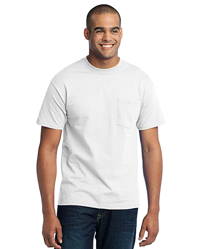 Port & Company PC55P Men 50/50 Cotton/Poly TShirt with Pocket White at GotApparel