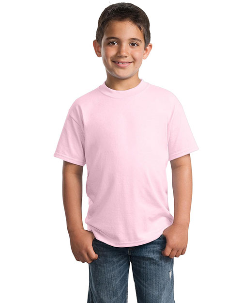 Port & Company PC55Y Boys 50/50 Cotton/Poly T-Shirt Pale Pink at GotApparel