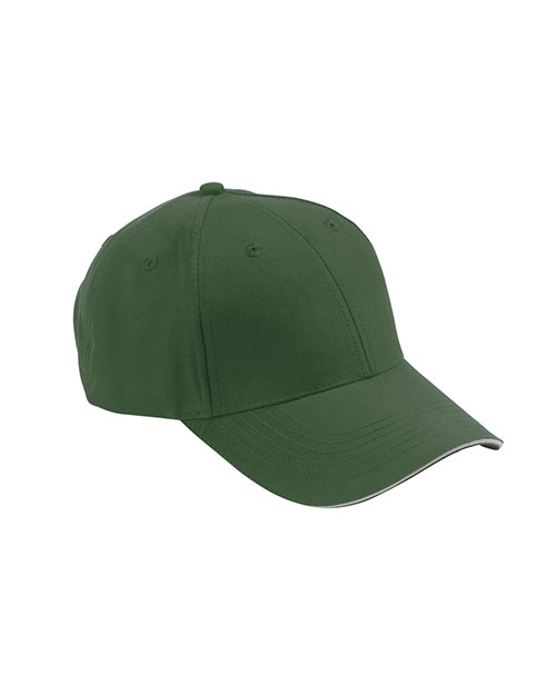 Adams PE102 6-Panel Mid-Profile Structured Moisture Management Cap Forest/ Khaki at GotApparel