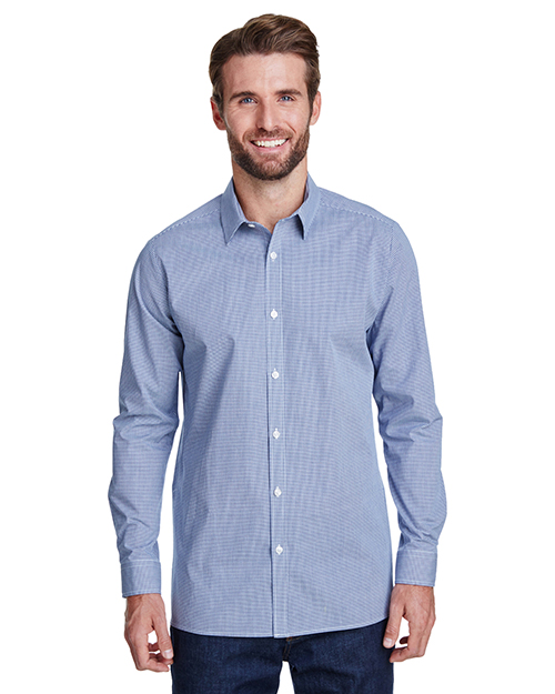 Artisan Collection by Reprime RP220 Men Microcheck Gingham Long-Sleeve Cotton Shirt at GotApparel