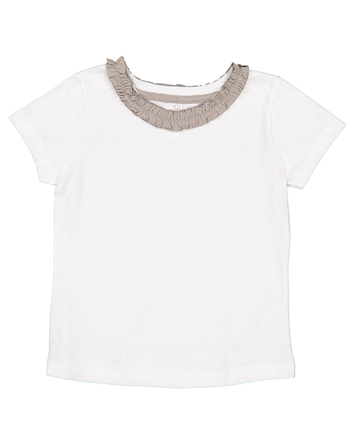 Rabbit Skins RS3329 Toddler Girls Ruffle Neck T-Shirt at GotApparel