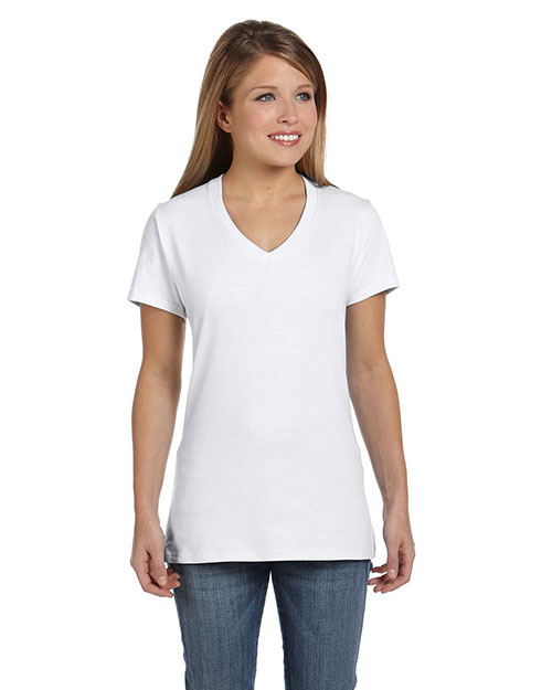Hanes S04V Women 4.5 oz., 100% Ringspun Cotton nanoT V-Neck TShirt White at GotApparel