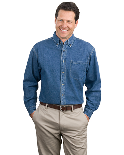 Port Authority S100 Men Heavyweight Denim Shirt Dkbluestnwshd at GotApparel