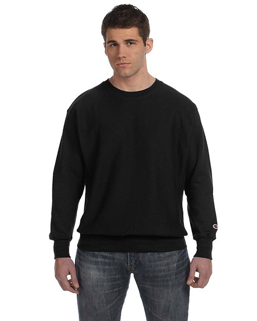 Champion S1049 Men Reverse Weave 12 oz. Crew Black at GotApparel