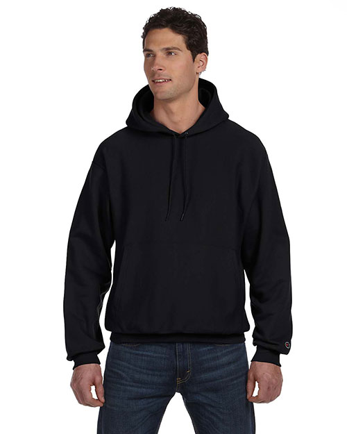 Champion S1051 Men Reverse Weave 12 oz. Pullover Hood Black at GotApparel
