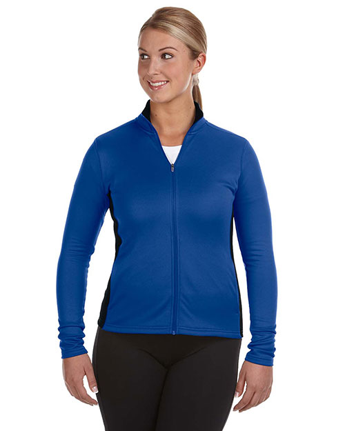 Champion S260 Women Performance  5.4 oz. Colorblock FullZip Jacket Ath Royal/Black at GotApparel
