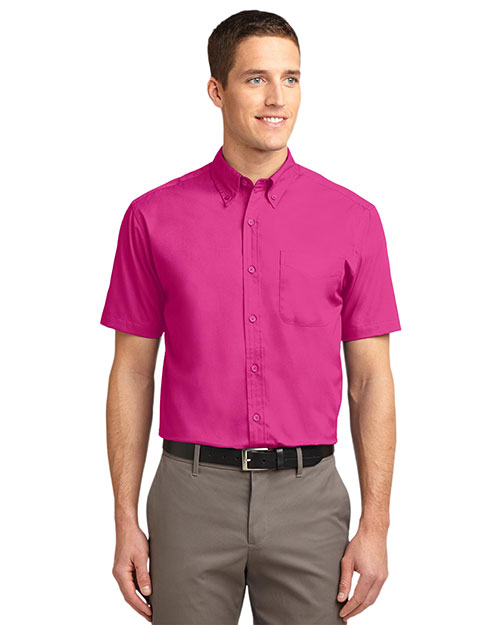 Port Authority S508 Men Short Sleeve Easy Care Shirt Tropical Pink at GotApparel