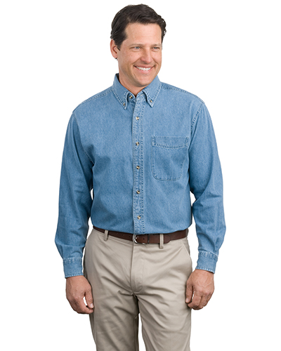 Port Authority S600 Adult Long Sleeve Denim Shirt Faded Denim at GotApparel