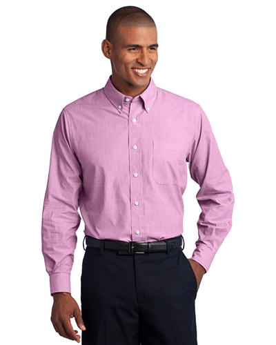 Port Authority TLS640 Men Tall Crosshatch Easy Care Shirt Pink Orchid at GotApparel